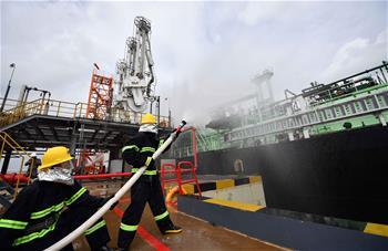 海口海事局轄區舉辦首次LNG船舶船岸聯合應急演練