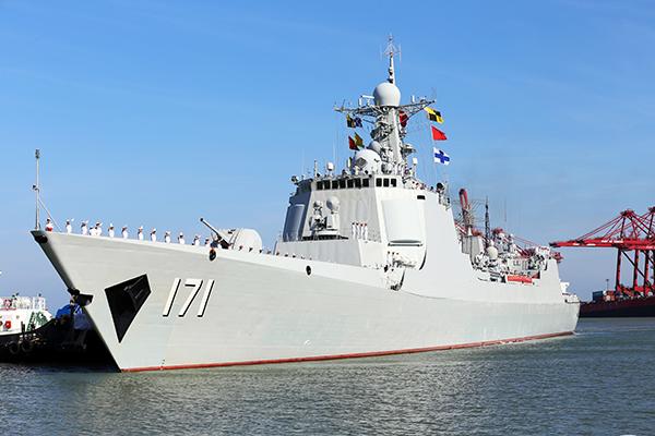 """海口舰""""回家"""" 开展国防教育 促进双拥共建"""