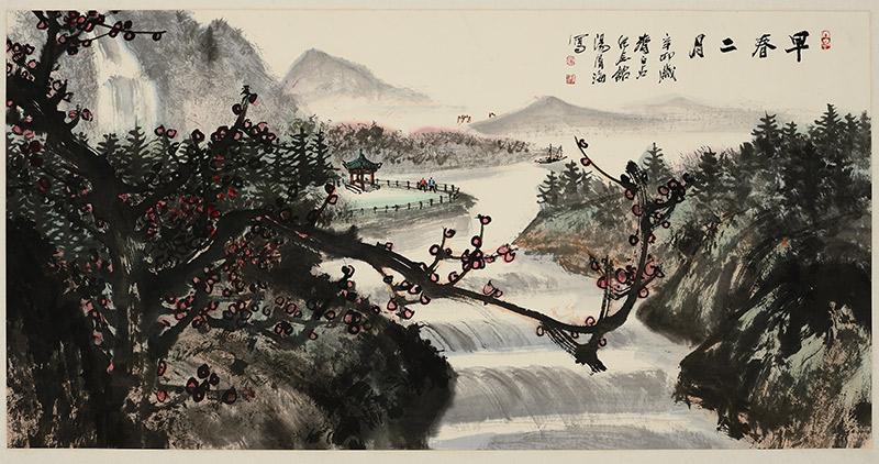 中國書畫名家湯清海作品在海南昌江展出