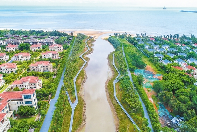 俯瞰五源河濕地公園 水清岸美入畫來