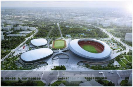 海南省2022年省運會主場館主體結構全面封頂